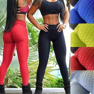 Womens Yoga Gym Anti Cellulite Leggings Fitness Trousers Butt Lift Elastic Pants