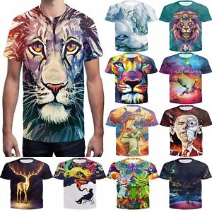 Women-Men-039-s-funny-T-shirts-3D-Print-lion-tiger-Fitness-Short-Sleeve-Casual-tops