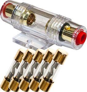 s l300 agu fuse holder high quality gold inline 4 6 8 gauge 5 pack 40