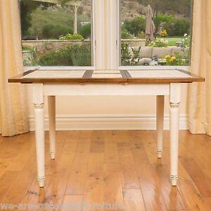 Dark brown antique white tile wood dining room table w for Dark wood dining table with leaf