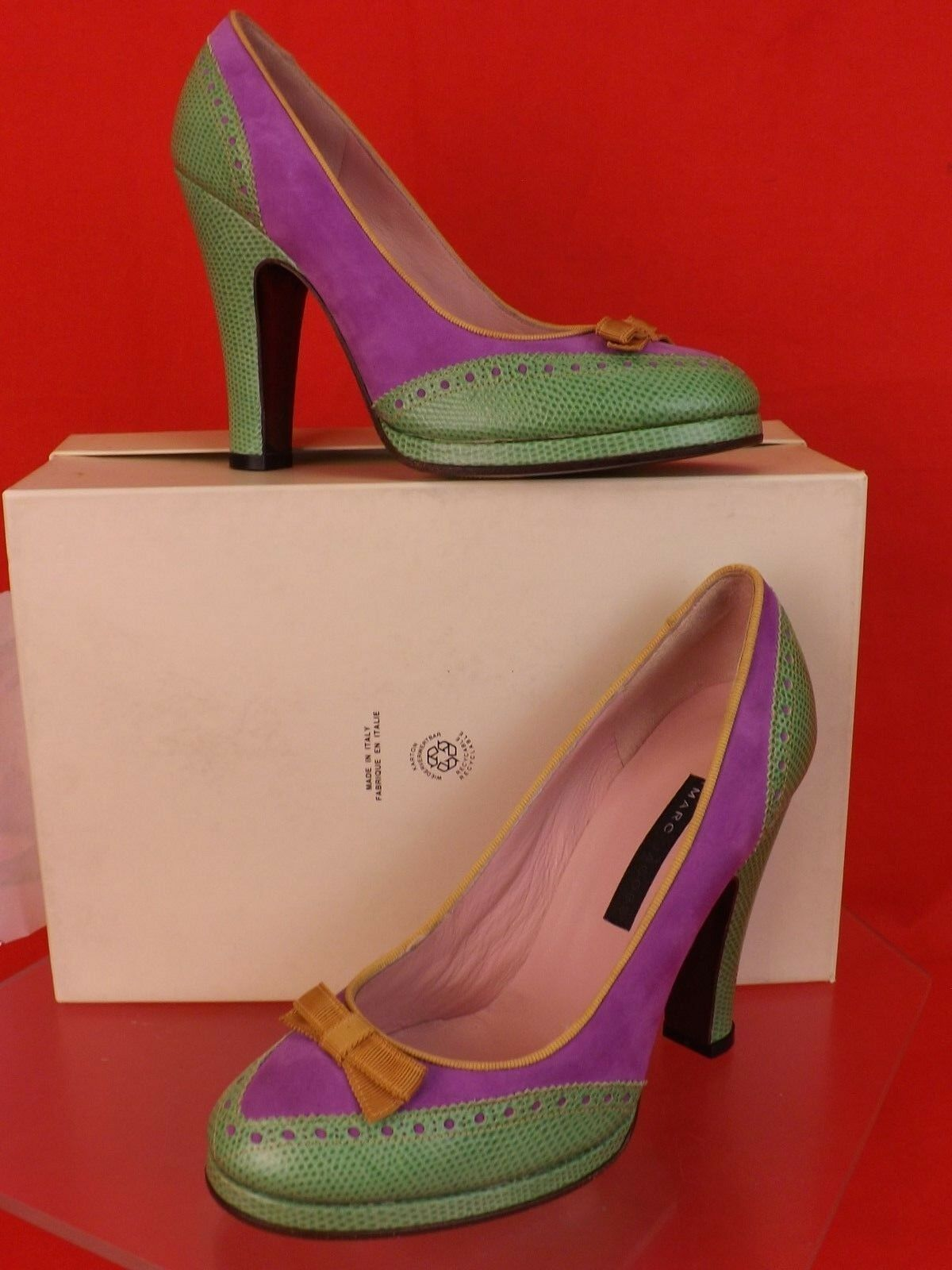 NEW MARC JACOBS COLOR BLOCK PERFORATED SNAKE PRINT SUEDE BOW PLATFORM PUMPS 37