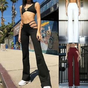 Flared-trousers-Women-Leggings-Long-Pants-Hollow-Strappy-Cut-out-Casual