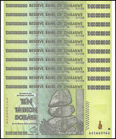Zimbabwe 10 Trillion Dollar Banknote X 10 PCS, 2008, AA Series, USED