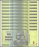Zimbabwe 10 Trillion Dollar Banknote X 10 PCS, 2008, AA Series, USED