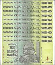 Zimbabwe 10 Trillion X 10 Pieces (PCS),AA/2008,P-88,Circulated,Used,100 Trillion