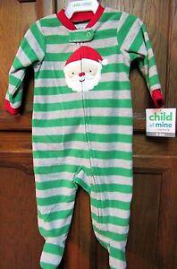 603c9c3cc3 Details about NWT CARTER S Child of Mine GREEN SANTA CHRISTMAS FLEECE  BLANKET SLEEPER 3-6 mo