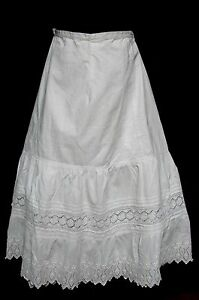 ANTIQUE VICTORIAN EDWARDIAN EMBROIDERED EYELET LACE FLOUNCE PETTICOAT SKIRT