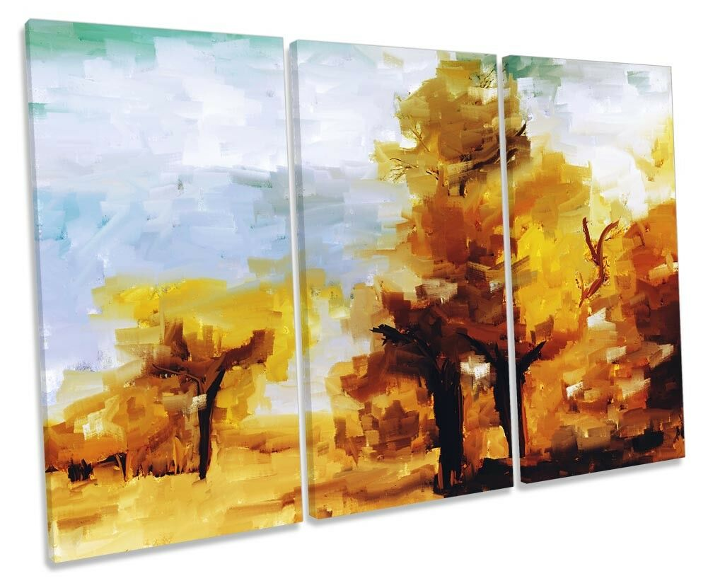 Golden Orange Forest Scene TREBLE CANVAS WALL ARTWORK Print Art