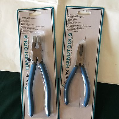 Glass Breaking Tools Blue CHOICE Breaker Grozier and 8 inch Metal Running Pliers