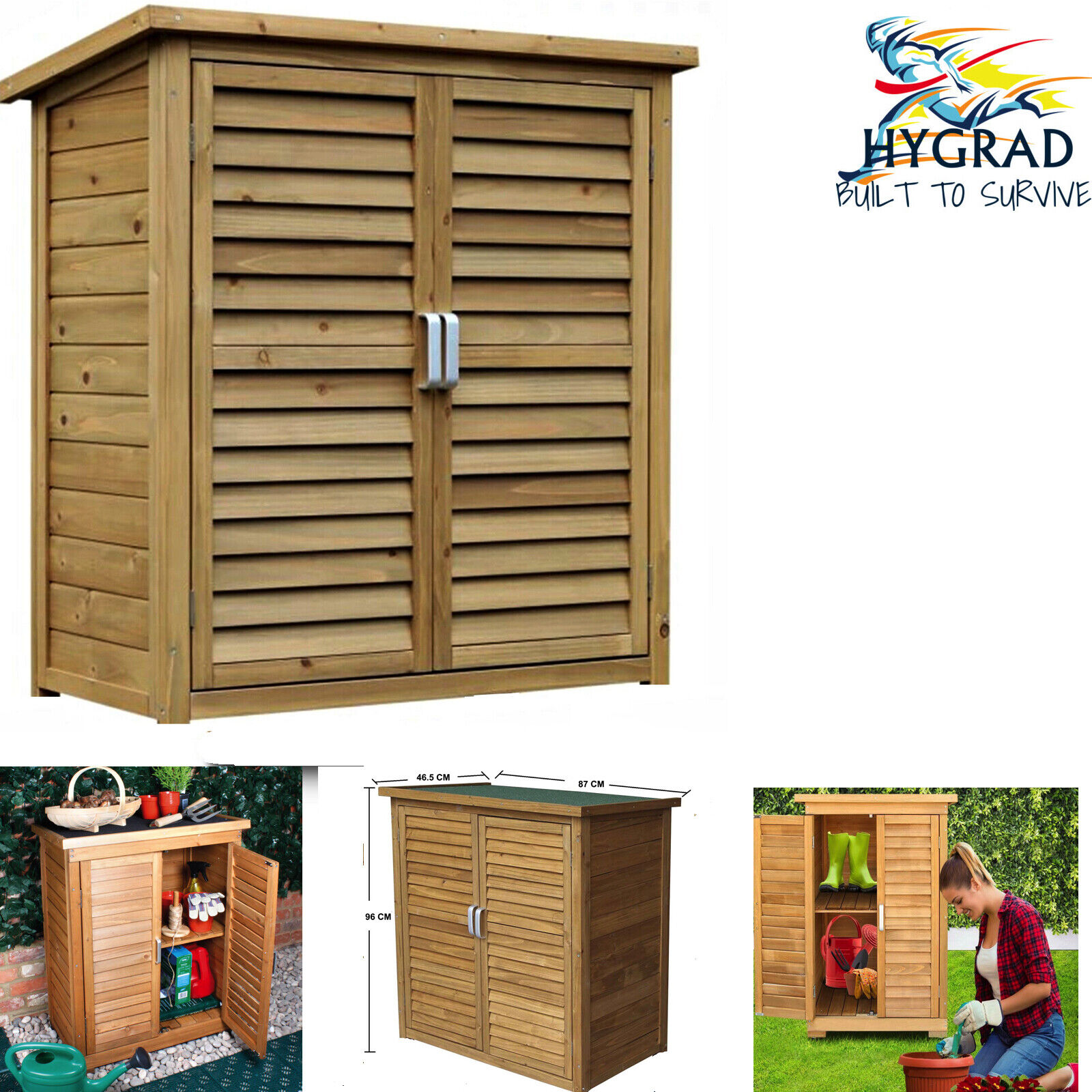 G4RCE/® G4RCE Wooden Outdoor Garden Cabinet Utility Storage Tools Shelf Store Box Shed