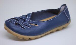 Women-039-s-Navy-Leather-Lattice-Flats