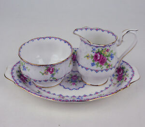 Small-Cream-with-Sugar-Bowl-and-Regal-Tray-Royal-Albert-Petit-Point-vintage