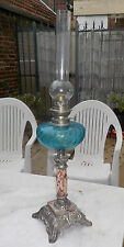 GRANDE LAMPE A PETROLE ANCIENNE - CRISTAL , MARBRE , ETAIN