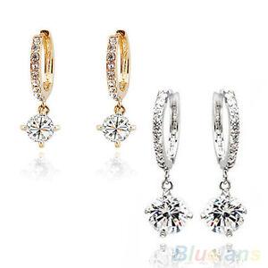 Womens-New-Stylish-Austrian-Zircon-Crystal-Rhinestone-Shining-Stud-Drop-Earrings