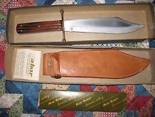 VINTAGE PRISTINE KA-BAR J BOWIE 1210 KNIFE, LEATHER SHEATH, ORIG BOX, PAPERWK+