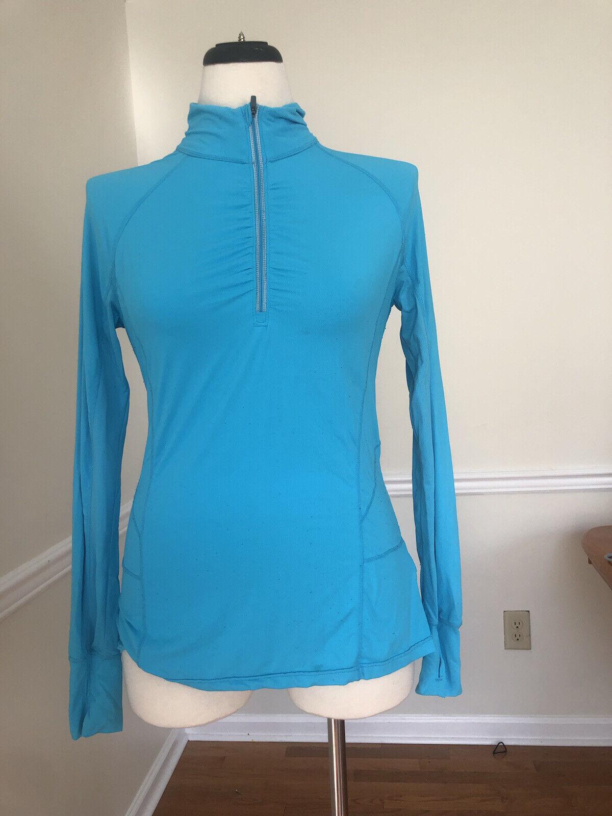 active top, long sleeves, nylon blend blue emerald SZ M