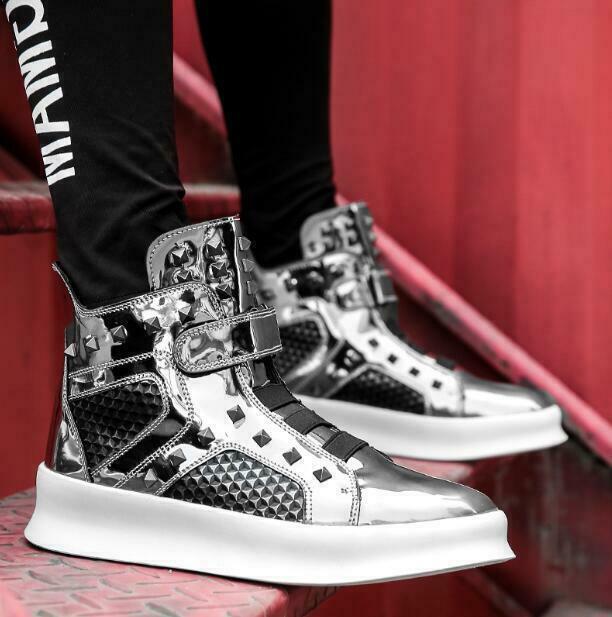 Mens Patent Leather High Top shoes Rivet Hip Hop Ankle Boots Sneakers Punk Rock