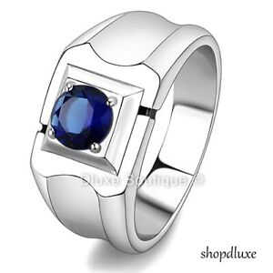 MEN-039-S-ROUND-CUT-DARK-BLUE-MONTANA-CZ-SILVER-STAINLESS-STEEL-RING-BAND-SIZE-8-14
