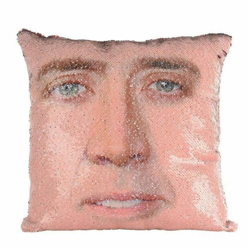 Nicolas Cage Mermaid Pillow Funny Pillow Christmas Nicolas Cage Pillow Sequin