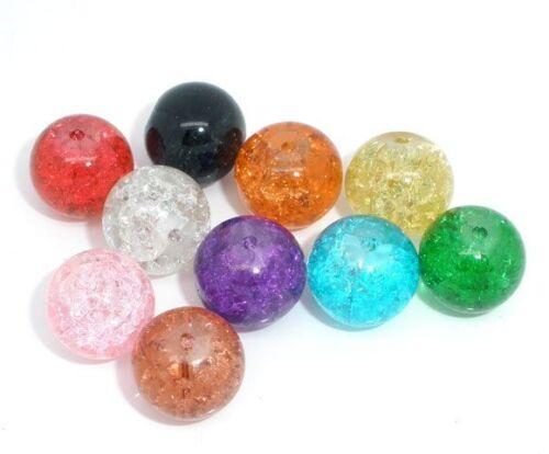 Lot 10 Perles en Verre Craquelé 12mm perle fissuré creation bijoux collier 12 mm
