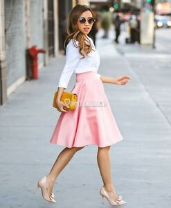 Women-Retro-High-Waisted-Full-A-Line-Tutu-Pleated-Short-Swing-Dress-Midi-Skirts