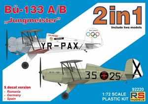 "2-in-1 #92220 Rs Models 1//72 Bucker Bu-133a//B /"" Jungmeister /"""