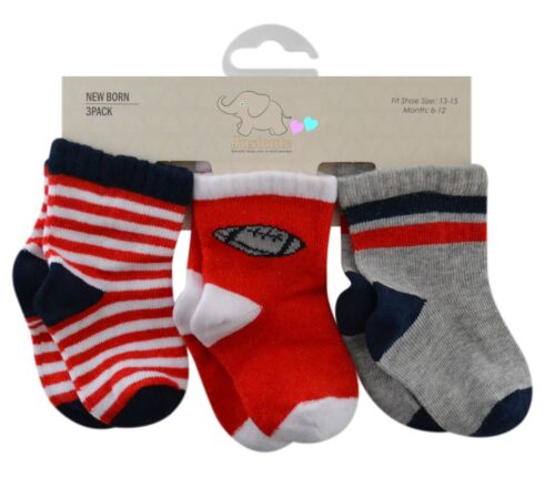 Baby socks 3 pairs red navy white grey mix 90/% cotton 0 to 18 months