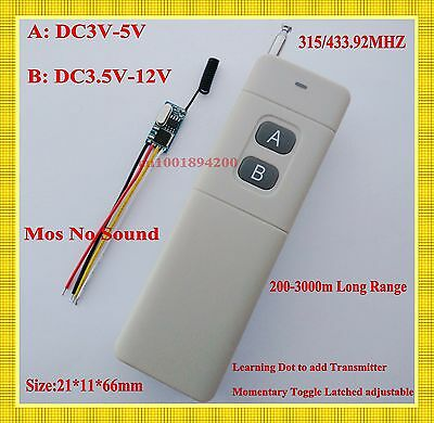 Long Range Micro Remote Control Switch 3.7v 4.5v 5v 6v 9v 12v 1CH Receiver 433