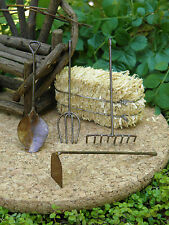 Miniature Dollhouse FAIRY GARDEN ~ Set of 4 Rustic Antiqued TOOLS Rake Fork Hoe