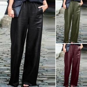 Mode-Femme-Pantalons-en-cuir-Loisir-Taille-elastique-Loisir-Jambes-larges-Plus