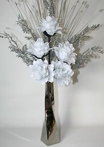 Artificial flowers white silk dragon flower arrangement in silver image is loading artificial flowers white silk dragon flower arrangement in mightylinksfo