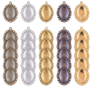 30Pcs Oval Pendant Trays Bezel with Dome Glass Cabochon for DIY Jewelry Making