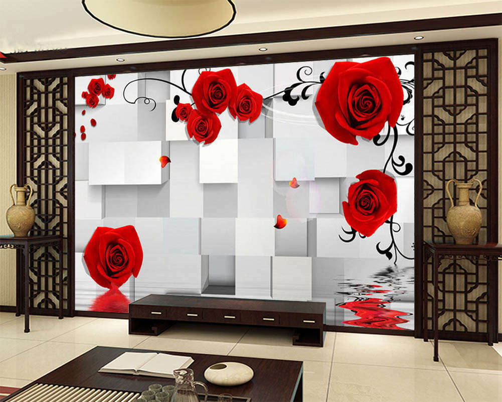 ROT Flowers And Water 3D Full Wall Mural Photo Wallpaper Print Home Kids Decor