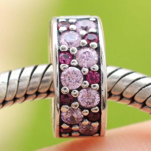 S925 Argent Sterling Violet Mosaïque Shining Elegance Clip Charm Bead Fit Bracelet