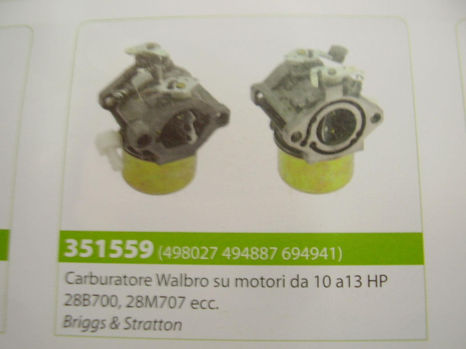 CARBURATORE MOTORE BRIGGS & STRATTON WALBRO SU MOTORI 10 A 13 HP 288700 - 28M707