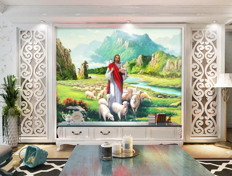 3D God Nature Sheep 4 Wall Paper wall Print Decal Wall Deco Indoor wall Mural