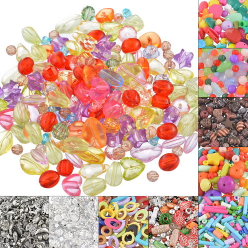 100 g Nouveau Mixte Couleurs Formes Variées Plastique Acrylique Perles Bijoux Kit Hot