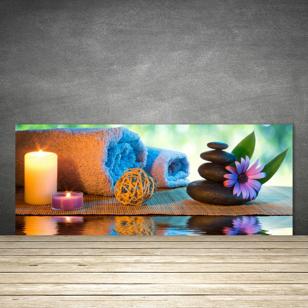Crédence de cuisine en verre Panneau 125x50 Art Bougies Pierres Fleurs