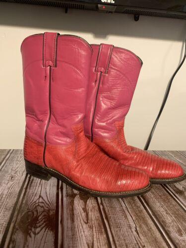 Justin Pink Lizard Cowboy Boots