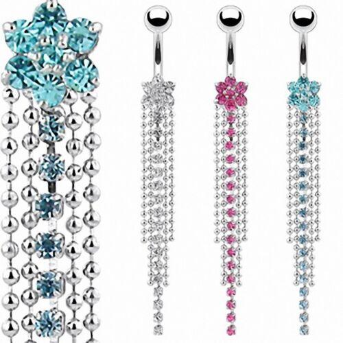 Piercing nombril fleur multi chaines