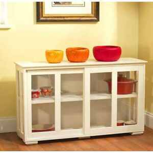 ... China Buffet Cabinet With Glass Doors Antique White