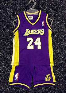 buy online c45da cbc40 Details about Kids Baby NBA Basketball Jersey Set purple Los Angeles Lakers  #24 Kobe Bryant