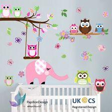 Pink elephant Owls Flower Butterfly tree bird  Nursery Baby  Wall Decal Sticker