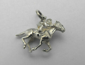 Vintage-925-Sterling-Silver-3-D-Solid-Made-Racing-Horse-Back-Rider-Charm-Pendant