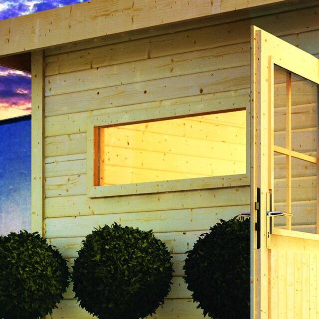 Karibu Sauna Fenster 40mm 42x122cm bronziertes Isolierglas