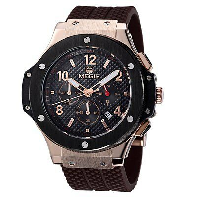 MEGIR Brand 3002G Military Sports Chronograph Watch with Silicone Belt For Men