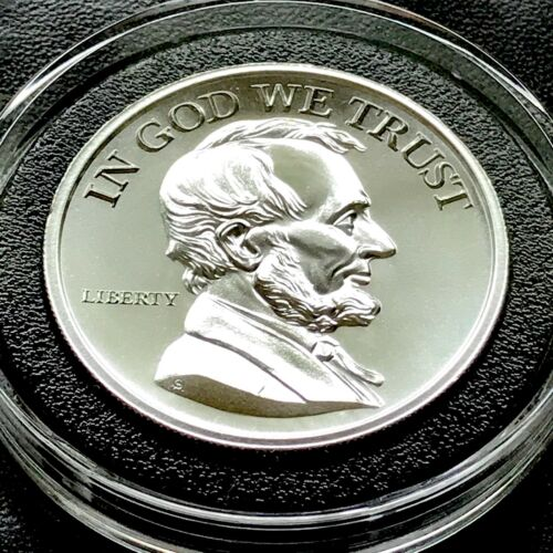 Abraham Lincoln 2 oz 39mm .999 Silver In God We Trust President Civil War