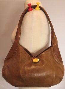 Image is loading Henry-Cuir-Beguelin-Light-Brown-Leather-Shoulder-Bag- 178b9ed6145bc