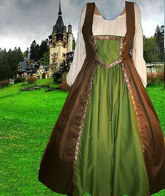 Renaissance Medieval Gown SCA Garb MerchantClass 2pcBiLcgFULLSktBodiceCotton LXL