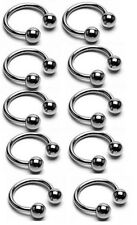 "10 Pc 14g 1/2"" 316L surgical steel ball horseshoes, nipple rings, navel rings"
